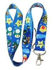 Luigi Super Mario Brothers Lanyard Badge Holder Keychain Nintendo NWOT Blue USA