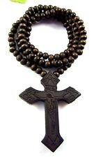 "Cross Pendant Jesus Wooden Necklace Hip Hop Music Wood Fashion Beads 36"" Chain"