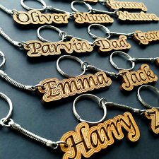 Personalised Wooden Keyring Valentines Gift Novelty Engraved Name Keychain Wood