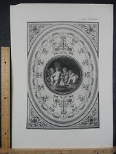 Rare Antique Original VTG Period Cherubs Relief Pattern Engraving Art Print
