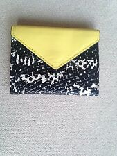 "Rebecca Minkoff Genuine Leather Yellow White Black Wallet Coin Pocket 4""x3"""