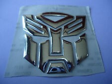 CAR 3D TRANSFORMERS AUTOBOTS FENDER BADGE TANK DECAL STICKER PLATING SILVER