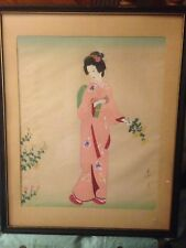 Vintage Old Wood Framed Signed Japanese Geisha Woman in Robe Tempera on Silk Art