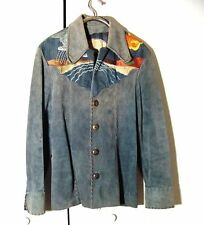 Vtg 70s Hand Crafted M+H Western Blue Gray Suede Leather Hippie Jacket  Sz 44