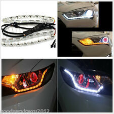 2 X Tear Eye Waterproof Car Dual Color LED DRL Light Strip Turn Signal Lamps 12V