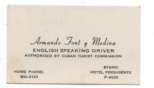 1950s Cuban Business Card from English speaking Driver Hotel Presidente