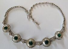 VINTAGE PANETTA SIGNED GREEN AND CLEAR RHINESTONE NECKLACE