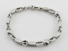 "14k White Gold Fancy Men's Bracelet 8 1/2"" 21.2 grams"