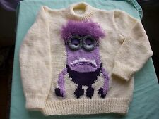 Purple Minion jumper, sweater, pullover, Knitting pattern in 6 sizes. boy, girl.