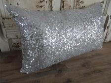 Silver Sequins Oblong Rectangle Home Decor Cushion Cover Pillow Case Throw 30x50