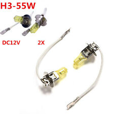 Hot 2pcs 55W 12V H3 Headlight Golden Yellow Car Light White Fog Halogen Bulb CA