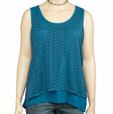 New Style&co. Woman Vineyard Coast Blue Hi-Low Eyelet Layer Tank Top Size 3X