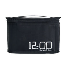 Black 12:00 Insulated Thermal Lunch Bag Lunch Box Cooler Tote Bag Travel Handbag