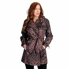 NEW Pamela McCoy Printed Woven LEOPARD Black Brown Belted Trench Coat XS S $120