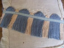 MS ANCIEN GALON PASSEMENTERIE SOMERSET  FRANGES LIN / COTON BLEU 110MM