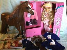 American Girl retired Caroline lot with outfits, books, horse, couch, carry case