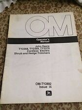 John Deere Operators Manual for TY2368, TY2369, TY2370 Shrub and Hedge Trimmers