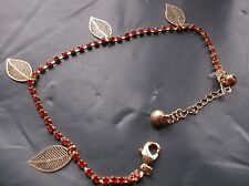 BRAND  NEW  FASHONABLE GOLD PLATED RED COLOURED STONES FOUR LEAF BRACELET.