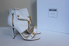 New sz 8.5 / 38.5 MOSCHINO White Leather Biker Style Ankle Open Toe Sandal Shoes