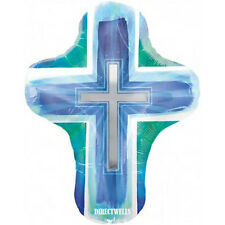 Baptism/Communion Jumbo Foil / Mylar Blue Balloon Cross Shape 28""