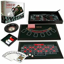 4 Casino Games Set Roulette Blackjack Poker Texas HoldEm Craps Dice Cards Wheel