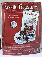 Sledding Santa Stocking Counted Cross Stitch Kit Needle Penguins Treasures 08534