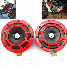 2 Pcs Red Super Tone Loud Grille Electric Blast Compact Universal Horn KIT 12V