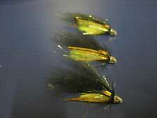 3 V Fly 1/2 Inch Conehead Black & Green Octopus Salmon Tube Flies & Hooks
