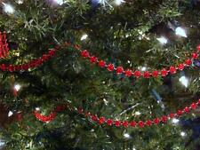 8MM RED CLEAR BEAD CHRISTMAS TREE GARLAND, WEDDING, CRAFTS~8 FEET~NEW