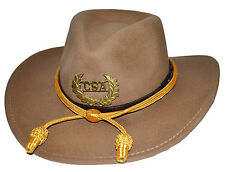 American Civil War Confederate Butternut Slouch Western Hat & Badge & Cord 57cms