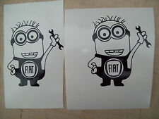 ( 2 ) MINIONS FIAT CAR,Decals Sticker,minions JMD JOKE FUN WINDOW BUMPER MIRRORS