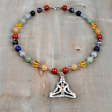 7 Chakra YOGA Necklace Silver Plated Pendant, Gemstone Chain,Rainbow