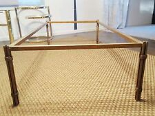 Vtg MCM Brutalist Paul Evans style 61x31 gold metal coffee table frame~No glass!