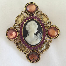New Antique Vintage Style Crystals Diamond Shape Cameo Brooch Pin Gift BR1164