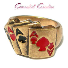CR2134 Graceful Garden Vintage Style Matte Gold Tone Poker 4 Aces Card Ring 6.5