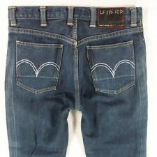 Mens Levis 02704 RED  Straight Leg **RARE** Mid Blue Jeans W33 L34