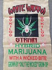 WHITE WIDOW  POT LEAF MARIJUANA  BURLAP BAG  pot leaf hippie sack