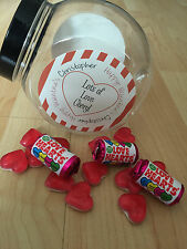 1 Personalised Valentine Retro/Vintage Sweet Jar gift him/her Empty Jar