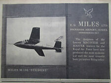 9/1957 PUB MILES M.100 STUDENT BASIC JET TRAINER AIRCRAFT AVION ORIGINAL AD