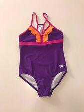 NWT Speedo Girls RacerBack One Piece Purple Swimsuit, Size 10