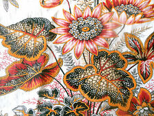 Antique 19thc French Botanical Floral Foliage Fabric ~ Tangerine Pink Black