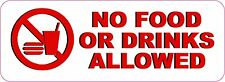 NO FOOD OR DRINKS ALLOWED VINYL BUSINESS STICKER DECAL **FREE SHIPPING**