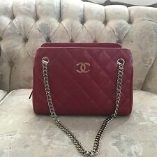 100% AUTHENTIC CHANEL RED CAVIAR LEATHER SHOULDER PURSE