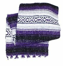 #11Yoga Purple Traditional Mexican Blanket Striped Premium Mexico Navajo Serape