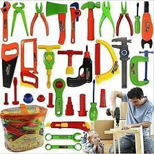 34pc Pretend Tools Toy Set Kid Learn Play Workshop Toolbox Workbench Children US