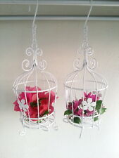 2 x Small Vintage White Metal Bird Cage Candle Holder Lantern Wedding Home Decor