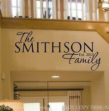 Personalized FAMILY Name & Date VINYL wall decal/words/custom/quote/sticker/home