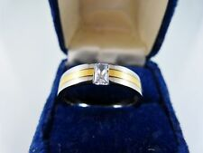 TITANIUM & GOLD WITH ZIRCON CRYSTAL MENS RING SIZE 12 1/4 WEDING OR ENGAGEMENT