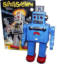 Smoking Spaceman Robot Tin Toy Battery Operated Blue