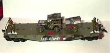 HO SCALE MODEL POWER US ARMY FLAT CAR WITH JEEP AND TRAILER WITH 2 FIGURES NEW